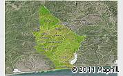 Satellite Panoramic Map of Mono, semi-desaturated