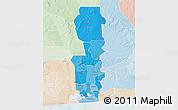 Political Shades 3D Map of Oueme, lighten