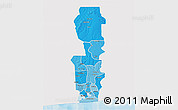Political Shades 3D Map of Oueme, single color outside