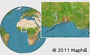 Satellite Location Map of Bonou, highlighted parent region