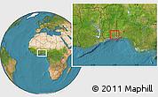 Satellite Location Map of Bonou