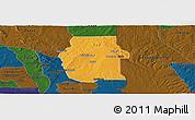 Political Panoramic Map of Ketou, darken