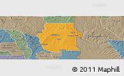 Political Panoramic Map of Ketou, semi-desaturated