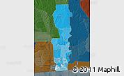 Political Shades Map of Oueme, darken