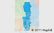 Political Shades Map of Oueme, lighten