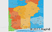 Political Shades Panoramic Map of Benin