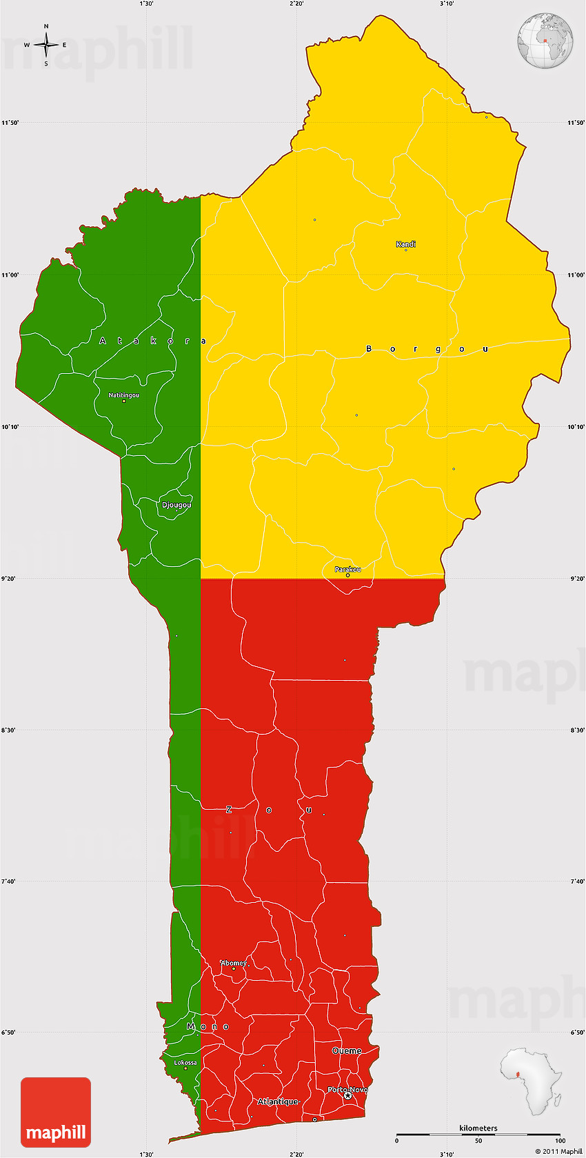 Flag Simple Map Of Benin - Benin map