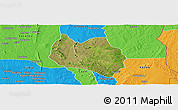 Satellite Panoramic Map of Dassa, political outside