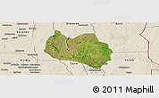 Satellite Panoramic Map of Dassa, shaded relief outside