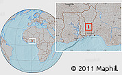 Gray Location Map of Glazoue, hill shading