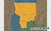 Political Map of Ouesse, darken, semi-desaturated