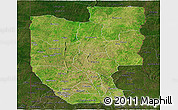 Satellite Panoramic Map of Zou, darken