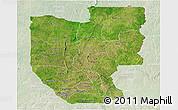 Satellite Panoramic Map of Zou, lighten