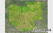 Satellite Panoramic Map of Zou, semi-desaturated