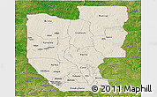 Shaded Relief Panoramic Map of Zou, satellite outside