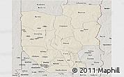 Shaded Relief Panoramic Map of Zou, semi-desaturated