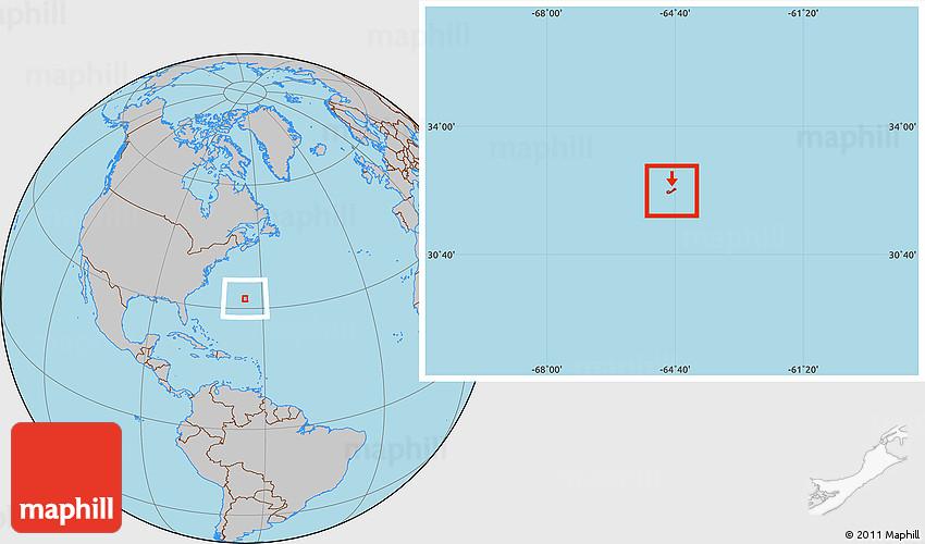 Gray Location Map of Bermuda