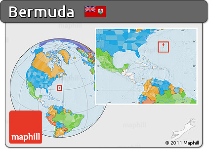 Free Political Location Map of Bermuda highlighted continent