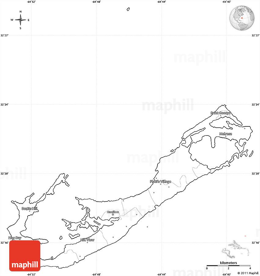 Blank Simple Map of Bermuda