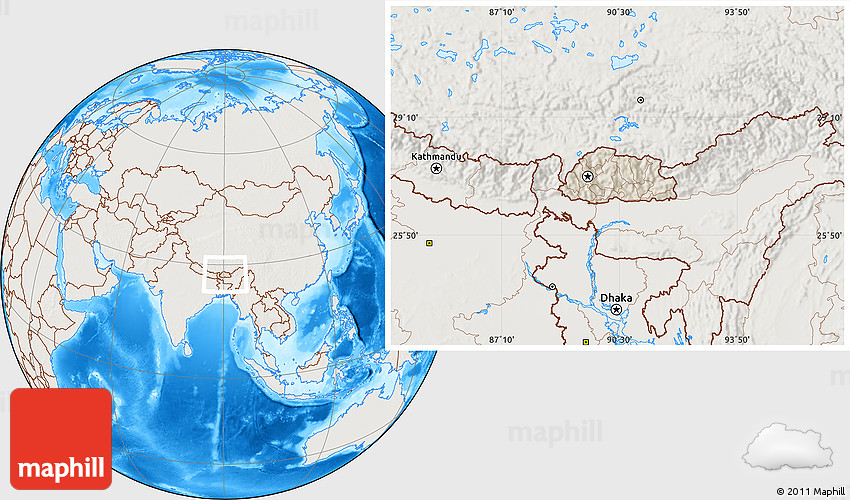 Shaded Relief Location Map of Bhutan, lighten, land only