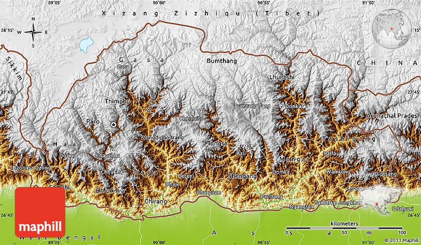 Physical Map Of Bhutan - Bhutan map