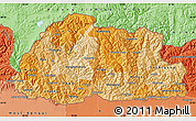 Political Shades Map of Bhutan
