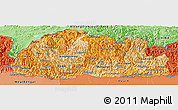 Political Shades Panoramic Map of Bhutan