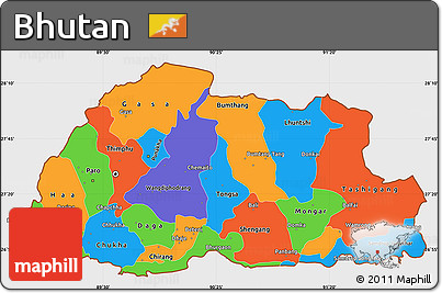 Free Political Simple Map Of Bhutan Single Color Outside - Map of bhutan