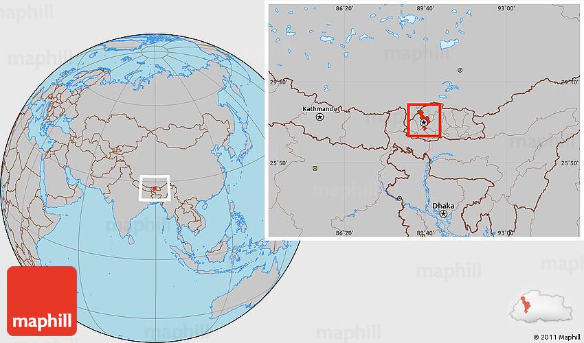 Gray Location Map of Thimphu