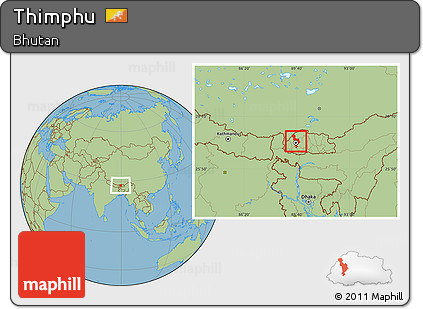 Free Savanna Style Location Map of Thimphu