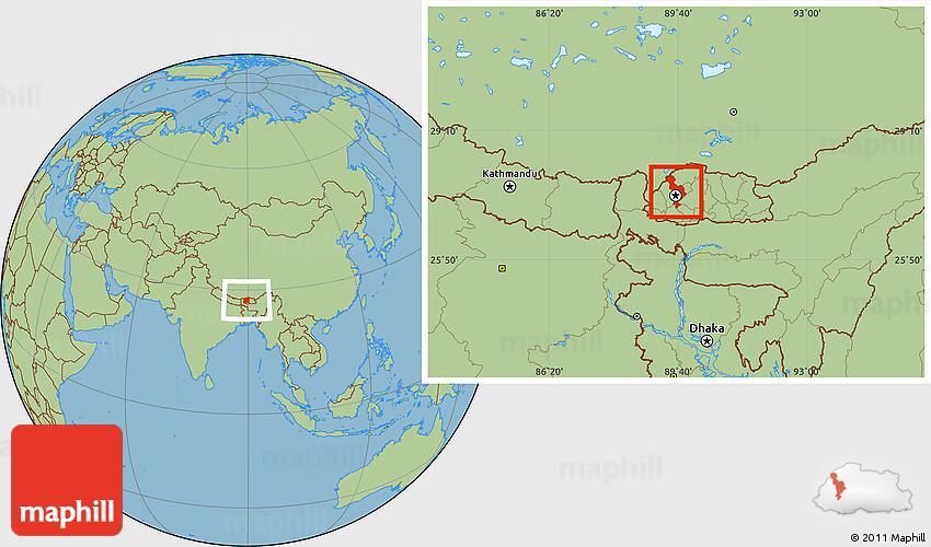 Savanna Style Location Map of Thimphu