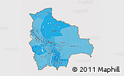 Political Shades 3D Map of Bolivia, cropped outside