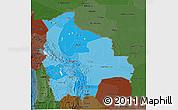 Political Shades 3D Map of Bolivia, darken