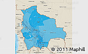 Political Shades 3D Map of Bolivia, shaded relief outside