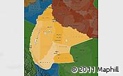 Political Shades Map of Beni, darken