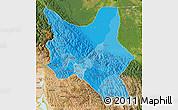 Political Shades Map of Cochabamba, satellite outside