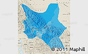 Political Shades Map of Cochabamba, shaded relief outside