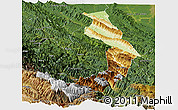 Physical Panoramic Map of Sud Yungas, satellite outside