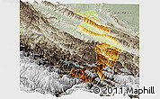 Physical Panoramic Map of Sud Yungas, semi-desaturated