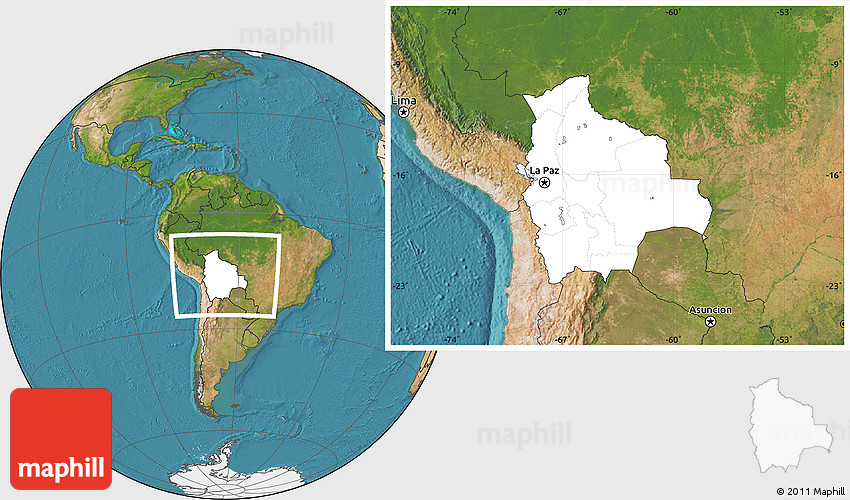 Blank Location Map of Bolivia satellite outside