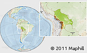 Physical Location Map of Bolivia, lighten
