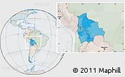 Political Location Map of Bolivia, lighten, semi-desaturated