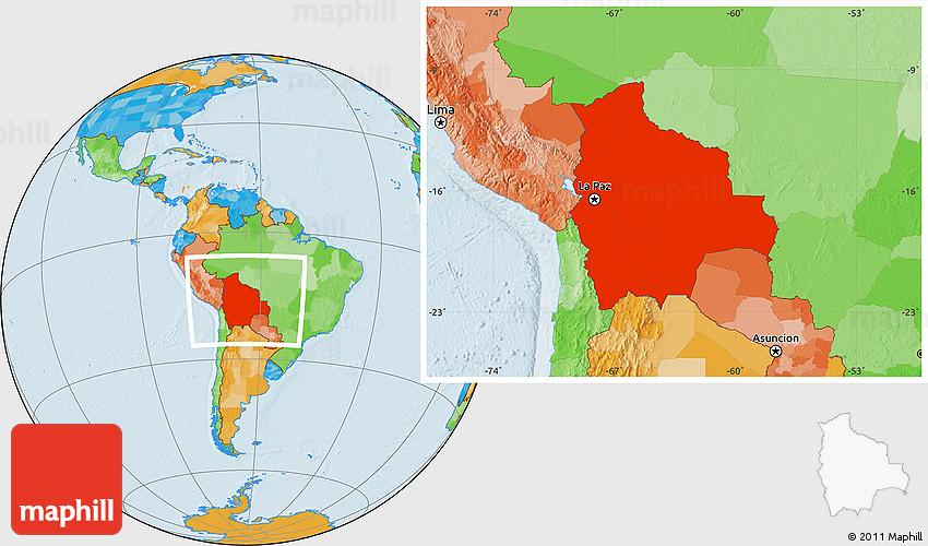 Political Location Map Of Bolivia