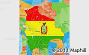 Flag Map of Bolivia, political outside