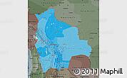 Political Shades Map of Bolivia, darken, semi-desaturated