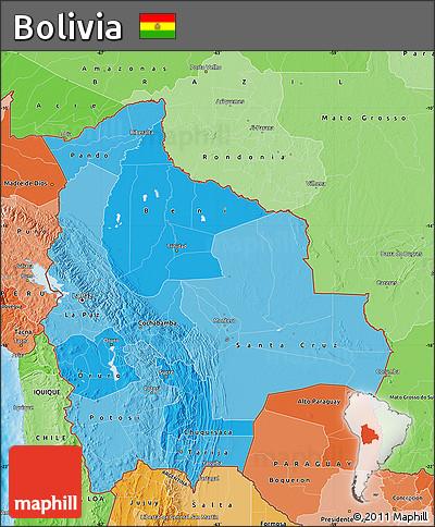 Political Shades Map of Bolivia