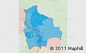 Political Shades Map of Bolivia, lighten