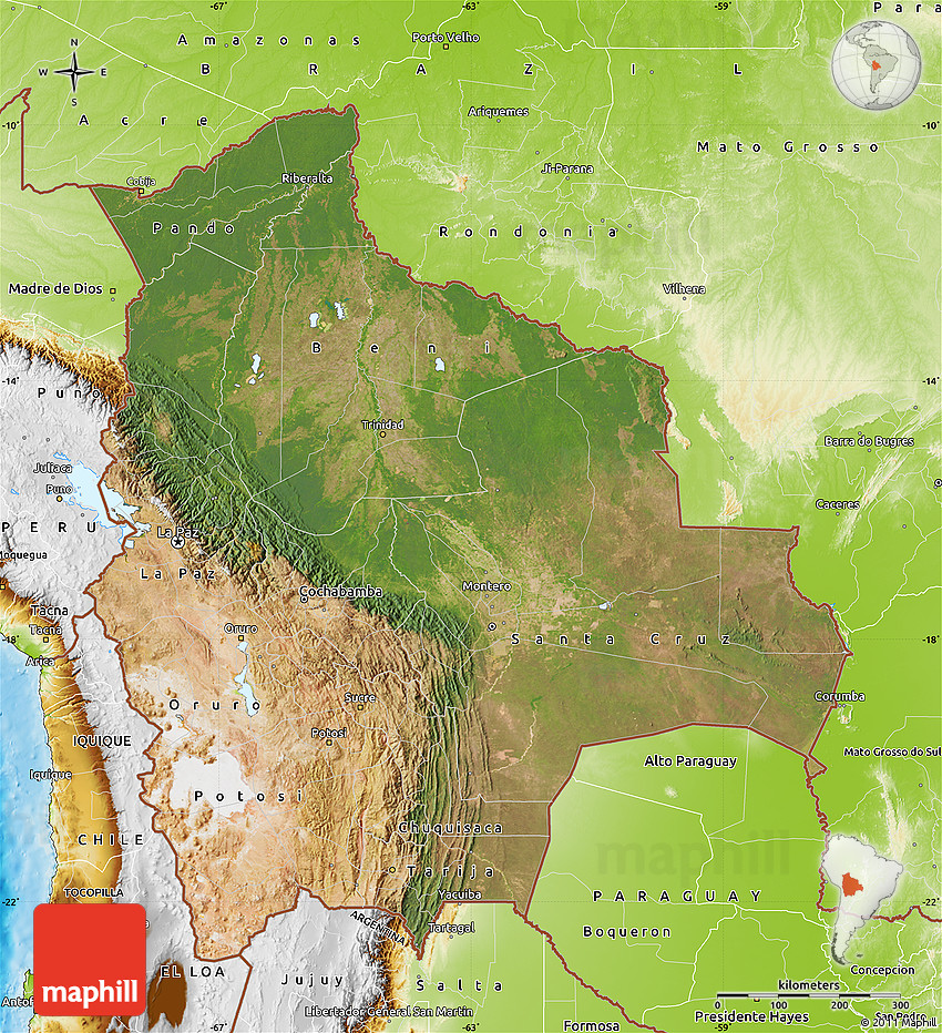 Satellite Map Of Bolivia Physical Outside - Map of bolivia