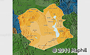 Political Shades Map of Oruro, darken