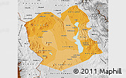 Political Shades Map of Oruro, physical outside